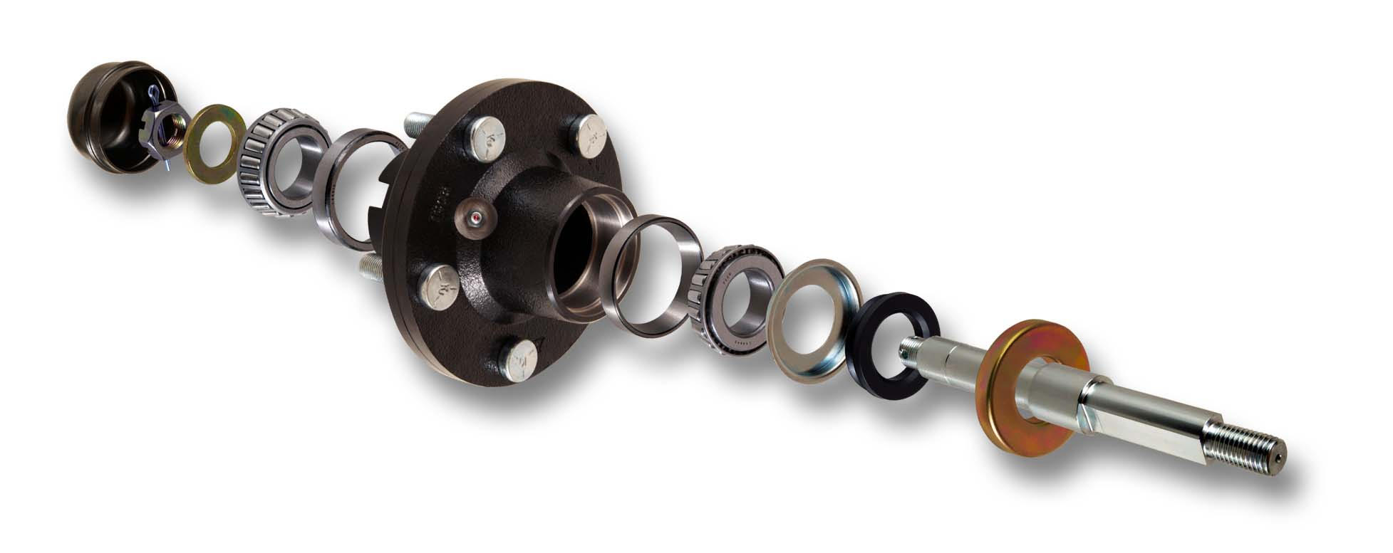 packer wheel hub and spindle assembly